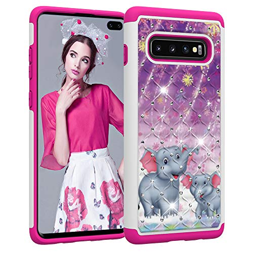 Galaxy S10 Plus Case, S10+ Cover Ithuriel Cute Diamond Bling Luxury Glitter Sparkle Rhinestone Crystal Hybrid Dual Layer Covers for Galaxy S10 Plus Cases Fireworks Elephant