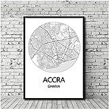 FGVB Schwarz-Weiß-Stadtplan Accra Ghana Poster Leinwand