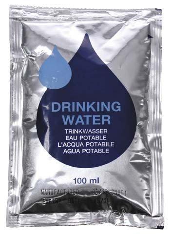 Drinkwater, emmergency, verpakking met 5 x 100 ml zak
