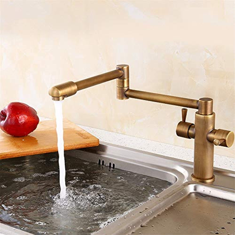 Yuyu19-SLT Wasserhahn Küche Einhebelmischer Spültisch Armatur Küchenarmatur Spültischarmatur Spülbecken Mischbatterie Zusammenklappbarer Retro-Ganzkupfer-Teleskopauszug
