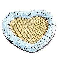 夏の涼しい籐ペットベッドスリーピングマットペット猫犬通気性籐マットハート型のペットの巣クールな快適さ(色:青、サイズ:中)