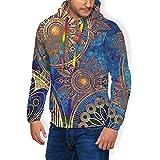 LAOLUCKY étnico místico asiático mandala psicodélico para hombre con capucha 3D sudadera con capucha con bolsillos grandes Negro Negro ( S