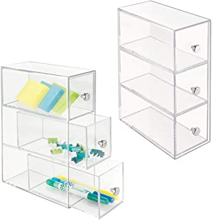 mDesign Home Office, Desk Organizer Storage Station for Storing Gel Pens, Erasers, Tape, Push Pins, Pencils, Markers - Space Saving - Use Vertically or Horizontally - 3 Drawers, 2 Pack - Clear