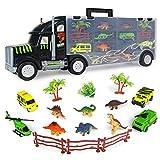 Camion Transportador de Coches Remolque Juguetes Dinosaurios para Nios 3 4 5 6 Aos Portacoches Juguete Conjunto Playset Incluye Total de 16 Accesorios