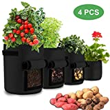 FancyWhoop Pflanzsäcke für 10 / 7 / 5 / 2 Hühner, Schwarz, mit Griffen, für Kartoffeln, Karotten und Tomaten, 4 Stück
