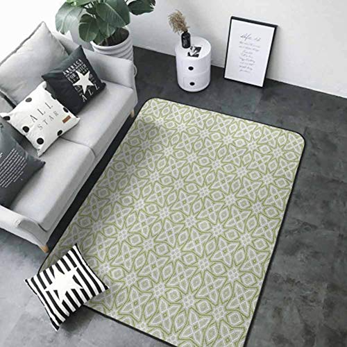 Soft Area Children Baby Playmats Celtic,Nostalgic Tribal Timeless Celtic Pattern with Square Shaped Motif Retro Boho, Pale Green White 84 x 60 in Polyester Area Rug Mat