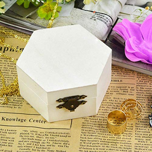 MUY Organizador de Postales multifunción Artesanía Hecha a Mano Cajas de Almacenamiento para el hogar Hexágono Rectángulo Caja de Madera Vintage Caja de joyería Pascua