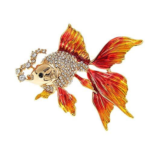ROTOOY Broches para Mujer, broches de pez Dorado para Mujer, diseño de Diamantes de imitación de Animales Bonitos, Broche, joyería esmaltada, Regalos, Accesorios Vintage, Rojo