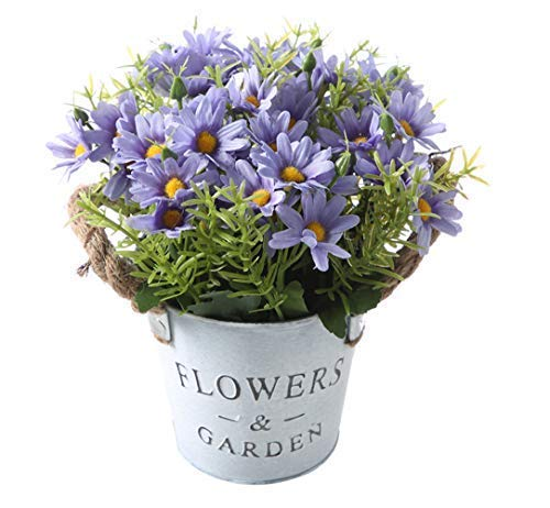 Gumolutin Artificial Flowers Pot, Fake Bonsai Plants in Metal Potted for Home Wedding Office Restaurant Table Centerpieces Arrangement Decoration,Daisy-Blue Purple