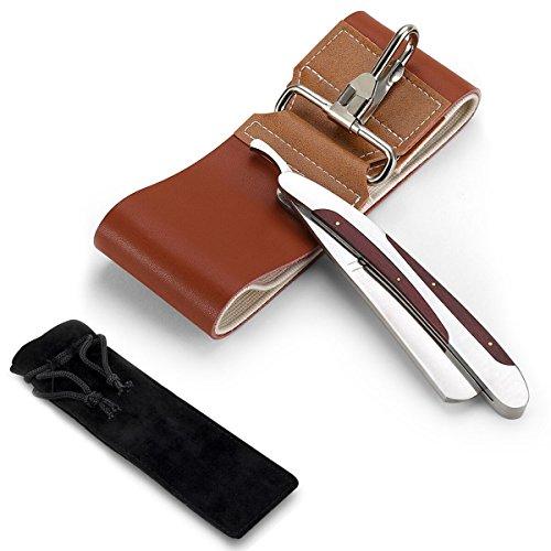 LUWANZ Rasiermesser Set mit Klapprasiermesser aus Edelstahl & Streichriemen & Rasiermesser Etui - Rasur Set mit klassischem Rasiermesser für Einsteiger und Barbier