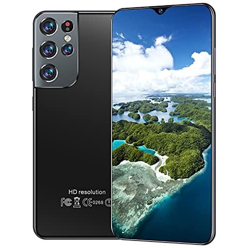 FLLKIHH Smartphone con Pantalla HD S21 + Ultra De 6.7 Pulgadas, Teléfono Móvil con Reconocimiento Facial De Gran Memoria con WiFi + BT + FM + GPS, Batería De 6500 Mah,Negro