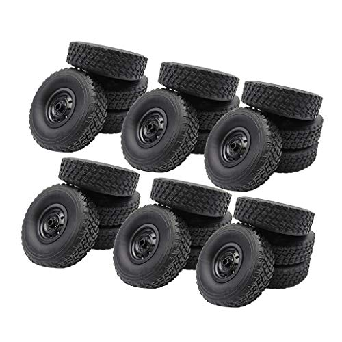 freneci Neumáticos RC de 24 Piezas para WPL B14K B24K C24K B36 Accesorio de Oruga de Roca