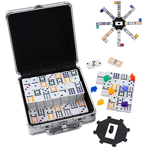 Homwom Double 12 Colored Dot Dominoes Mexican Train Game Set, 91 Tiles Dot Dominoes with 9 Trains, Scoreboard, Octagon Shape Hub and Aluminum Case