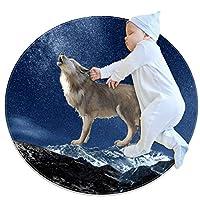 エリアラグ軽量 オオカミの現実的な銀河空間 フロアマットソフトカーペット直径39.4インチホームリビングダイニングルームベッドルーム
