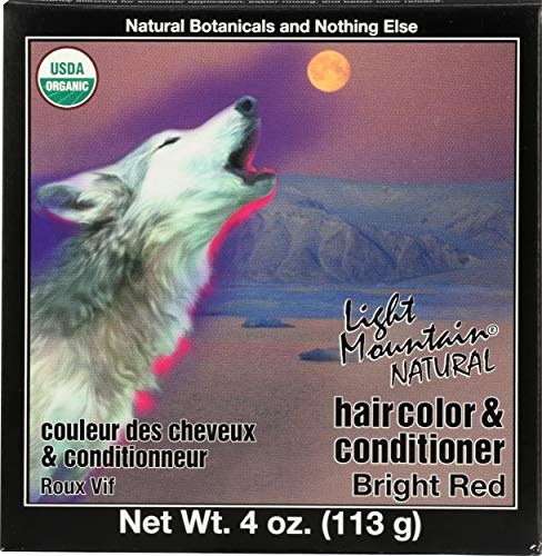 Light Mountain Natural Hair Color and Conditioner, Bright Red, 113g