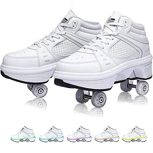 Patines de ruedas LED, zapatos con ruedas para patadas, deformación de las ruedas deformables de dos hileras, zapatos para caminar automáticos, patines invisibles, patines con polea desmonta