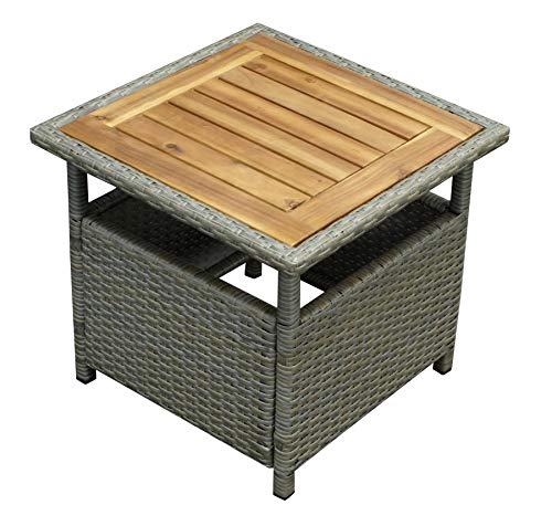 DEGAMO Beistelltisch Trento 45x45cm, Polyrattan naturgrau, Tischplatte Akazie