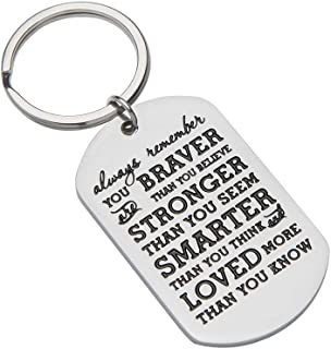Inspirational Gifts For Teenage Girl Women Engraved Keychain Birthday Gifts for Boy Men Son Daughter Always Remember You Are Braver Key chain Graduation GiftsDog tag For Men Teens Christmas