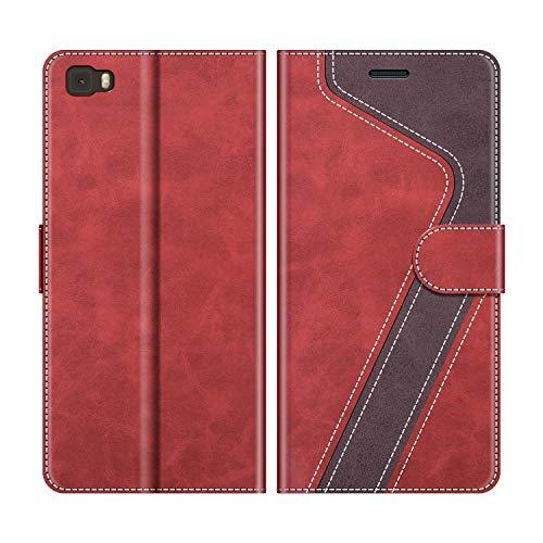 MOBESV Handyhülle für Huawei P8 Lite, Huawei P8 Lite 2015 Hülle Leder, Huawei P8 Lite Klapphülle Handytasche Case für Huawei P8 Lite Handy Hüllen, Modisch Rot