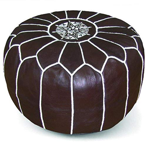 IKRAM DESIGN Moroccan Pouf, Chocolate, 20-Inch by 13-Inch