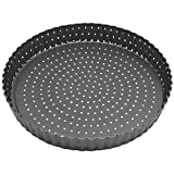 Tart Quiche Pan, 9.5 Inch Perforated Tart Pan with Removable Loose Bottom, Nonstick Round Fluted Tart Pan
