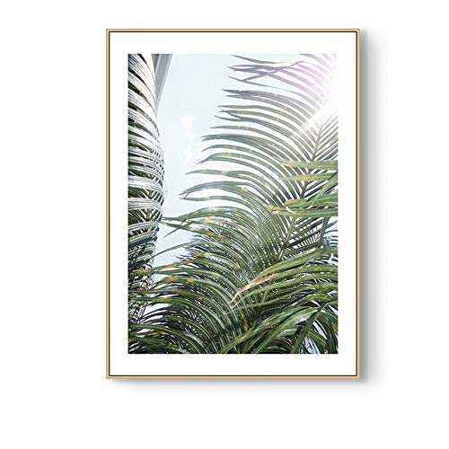 Nordic Small Fresh Green Leaves Wall Art Print Canvas Poster Painting Scandinavian Decorative Picture Modern Living Room Decor (Sin Marco)