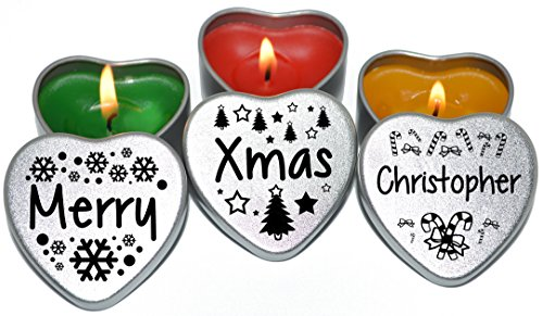 Personalised Set of 3 Merry Christmas Silver Mini Heart Tin Tealight Style Candles Secret Santa and Xmas Place Settings. Each tin is 45x45x25mm.