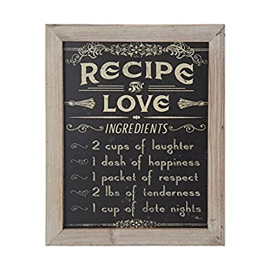 Elements 'Recipe for Love' Wooden Wall Art, 12-Inch-by-15-Inch