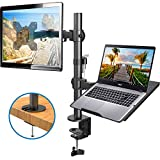 HUANUO Monitor Arm with Laptop Tray, Fully Adjustable for 13 to 27 inch LCD LED Screen & up to 15.6 inch...
