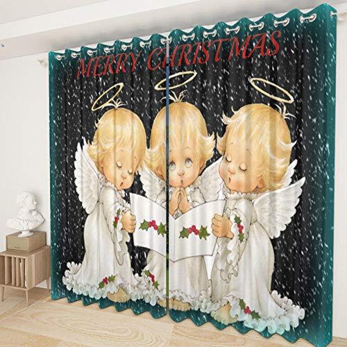 MOZBFYL Cortinas Opacas 140X160Cm, Habitacion Dormitorio Cocina Sala De Estar 2 Piezas Poliéster Suave Cortinas - Pequeño Ángel