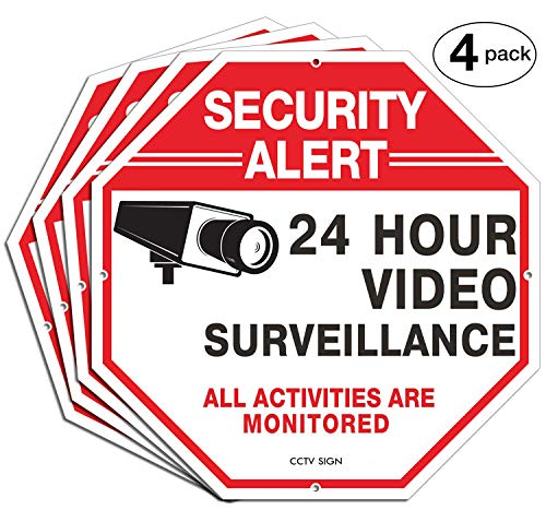 "Security Signs,Faittoo 4 Pack 24 Hour Video Surveillance Sign,Octagon 12/""x12/"" UV"