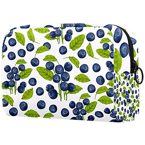 Trousse de Maquillage pour Femmes, Sac de Rangement cosmétique Aquarelle Blueberry Fruits Feuilles pour Les Voyages, Organisateur de cosmétiques