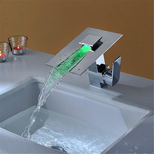 Waschtischarmatur Wasserhahn Wasserhahn Kaltes Vollkupfer-Mischwasser-LED-Lampe Temperaturregelung Farbwechsel ohne Batterie Doppelbadewanne Wasserfall Badewanne Wasserhahn