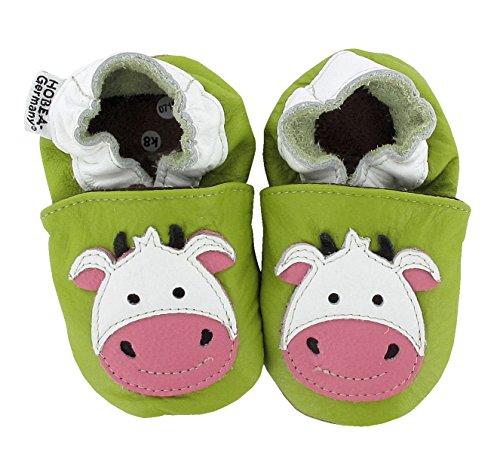 Krabbelschuhe Babyschuhe mit Tieren von HOBEA-Germany, Modell Schuhe:Kuh, Schuhgröße:22/23 (18-24 Monate)