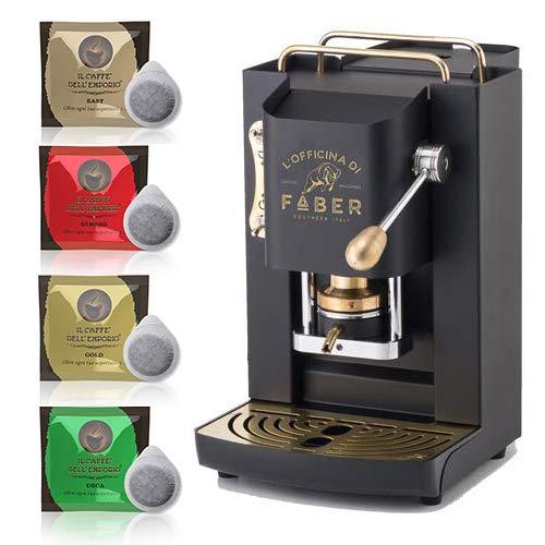 Macchina caffè a Cialde ese Filtro Carta 44mm Faber Pro Deluxe Nera con Rifiniture in Ottone con 50 cialde Omaggio Emporio del caffè
