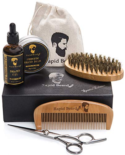 Beard Grooming & Trimming Kit for Men Care - Beard Brush, Beard Comb, Unscented Beard Oil Leave-in...
