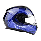 Typhoon TH158 Adult Modular Motorcycle Helmet DOT Dual Visor Full Face Flip-up - Blue Small
