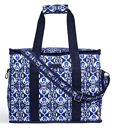 Vera Bradley Leak Resistant Insulated Cooler Bag Large Capacity, Navy Blue Soft Sided Collapsible Cooler, Portable Beach Tote Bag with Handles and Adjustable Shoulder Strap, Ikat Island