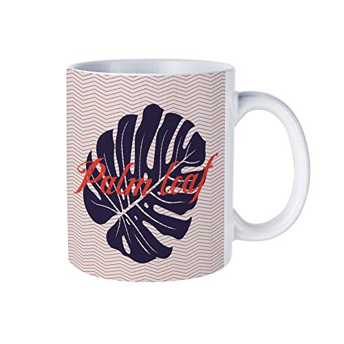Taza de café de cerámica con diseño gráfico de hoja de palma, taza personalizada, regalo personalizado para marido, papá, mamá, abuelo, abuela
