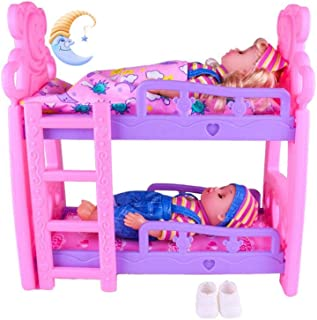 ELEC TECH Toys for Children - Plastic Bunk Beds - European Style Furniture Puzzle Girl Game House Toy Double Rocker Shaker Set