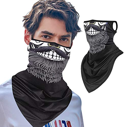 Hissox Fashionable Face Mask, Ear Loops Sun Dust Wind Protection Balaclava Mask Stretchy Hunting Camping Motorcycle Riding Bandana Scarf Neck Gaiters for Women Men 1 Pcs, Sexy Beard