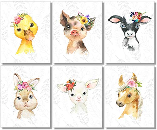 Baby Farm Animals Wall Art Prints - Nursery Decor - Set of 6-8x10 - Unframed - Watercolor