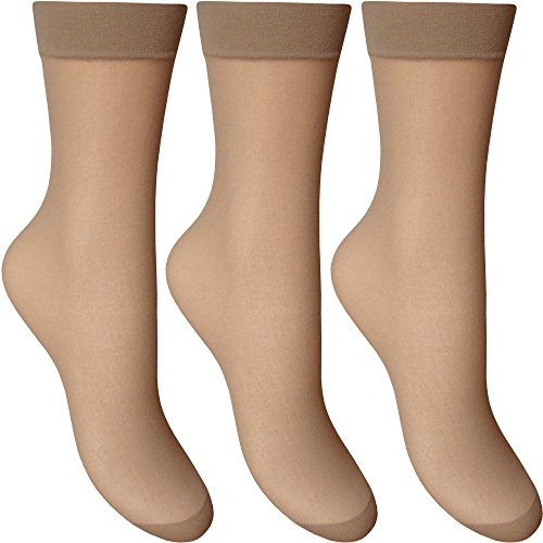 Ladies Silky Soft, Sheer & Durable Smooth Knit Everyday Anklets (3 Pairs Multi Pack)