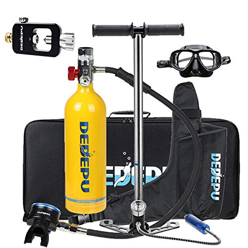 Mini Botella de Buceo Equipo de oxígeno para bucear, bombona de oxígeno cilíndrica, portátil y ligera, respirador + bomba de aire de alta presión Capacidad de 15-20 Minutos con Recargable,Amarillo
