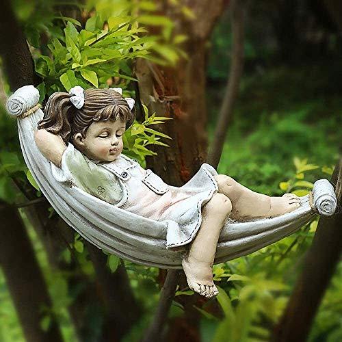 LIN-rlp Niño juguetón niña Columpio Ornamento Hada figurilla jardín césped Escultura decoración, Muchacho (Color : Girl)