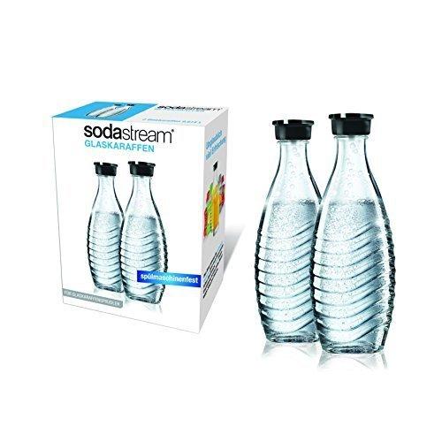 sodastream Glaskaraffe für Crystal 2 x 0,6L und Penguin Wassersprudler (spülmaschinenfest mit fest schließendem Deckel), transparent, Normal