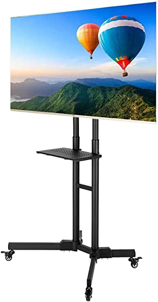 SSLine Mobile TV Stand Rolling TV Cart Floor Stand For 40 65 Inch Flat Screen Or Curved TVs Monitors Display Trolley Stand Loading 66lbs