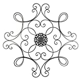 Besti Black Scrolled Metal Medallion Wall Decor - Vintage Decoration for Home, Kitchen, Office, Porch, Patio - Circular, Antique Style Iron Artwork Ornament - Great House, 24 1/2 Inch