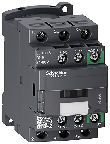 SCHNEIDER ELECTRIC LC1D18BNE Contactor, sin marcha atrás, 18 A, carril DIN, panel, 690 VAC, 3PST-NO, 3 polos, 10 kW