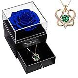DYD Rosa Preservada con Collar para Mujer, 2 Corazón Enredados Colgante Piedra Natal de Oro Rosa Collar con Caja de Rosa Eterna Azul,...